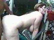 Busty amateur interracial fuck outside