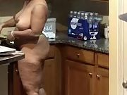 She loves to cook in the nude and show it all