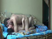 Old mom sex with a younger male invited around to use her cunt